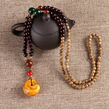 unisex ethnic vintage gourd <b>beeswax</b> turquoise bead <b>necklace</b> at ...