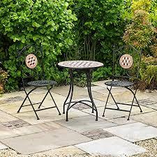 Kingfisher FSBM <b>3 Piece Mosaic Bistro</b> Patio Garden Furniture Set ...