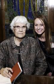 to kill a mockingbird author harper lee on ua campus to honor adrianne farris right a senior at thorsby high school and statewide winner of