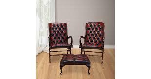 Chesterfield Pair York <b>Slipper chair</b> + <b>Footstool</b>  DesignerSofas4U