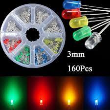 <b>160 Pcs 3mm LED Diodes</b> Yellow Red Blue Green Light Assortment ...