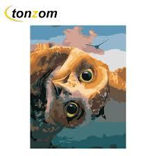 <b>RIHE</b> Funny Owl Diy Painting By Numbers Bird <b>Oil</b> Painting On ...