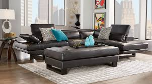 shiloh black 2pc sectional black leather living room