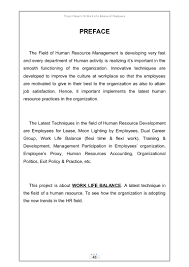 project report on work life balance
