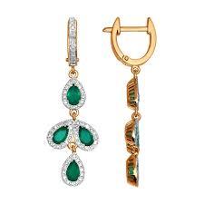 <b>Обрамлённые бриллиантами длинные серьги</b> с зелёными агатами