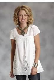 <b>Women's</b> Short Sleeve <b>Solid White</b> Lawn Babydoll Top Stetson ...