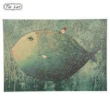 1 PCS <b>Vintage</b> Big <b>Fish Small</b> House Cartoon Illustration <b>Kraft</b> Paper ...