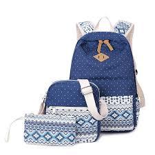 <b>3 Pcs</b>/<b>set</b> polka dot women backpack canvas printing <b>school bags</b> ...