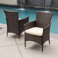 brown wicker outdoor furniture dresses: malta outdoor wicker dining chair with cushions set of  by christopher knight home