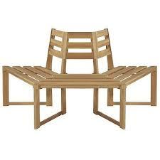 Outdoor Garden <b>Tree Bench Half Hexagonal</b> Wooden Seat Patio ...