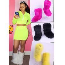 <b>SWONCO</b> Furry <b>Snow Boots</b> Women Noen Color <b>Winter Shoes</b> ...