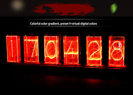 <b>Customized LED Glow</b> Digital Tube Clock Retro Full Color <b>LED</b> ...
