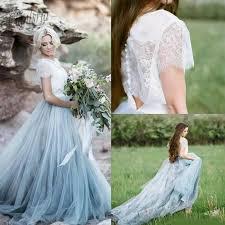 2019 Beach Boho <b>Lace</b> Wedding Dresses A Line Soft Tulle Cap ...