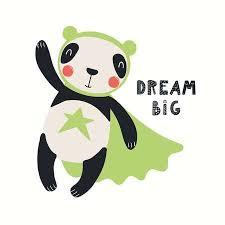 Hand Drawn Vector Illustration Of A Cute Panda <b>Superhero</b>, With ...