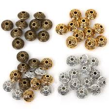 Top Quality <b>50PCs</b>/<b>bag 6mm</b> Tibetan Metal Beads <b>Antique</b> Gold ...