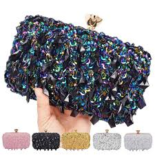 Pink Silver <b>Gold Crystal beaded</b> Clutch Bags Women Party Purse ...