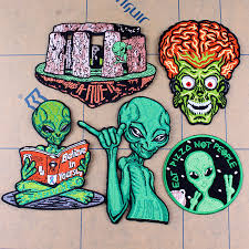 <b>Pulaqi Cartoon</b> Alien Patch UFO Cloth Patches Embroidered ...