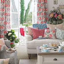 shabby chic living room with floral curtains and patterned cushions chic living room curtain