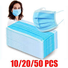 10/20/<b>50Pcs Disposable</b> Sanitary Masks <b>Nonwove</b> 3 Layer Filter ...