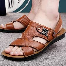 Men's Genuine <b>Leather Casual Non</b>-<b>Slip</b> Sandals Beach Slippers ...