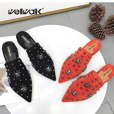 Stud Mules <b>Shoes Women Flat Slippers</b> Pointed Toe Rhinestone ...