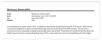 for flint residents a fog of unanswerable questions in a 2015 email to michigan department of health and human services director nick lyon gov rick snyder s then chief of staff dennis muchmore