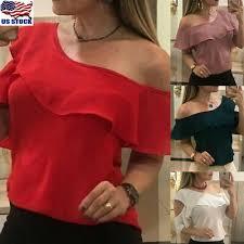 <b>Womens Summer Off Shoulder</b> Short Sleeve Ruffle Casual T Shirt ...