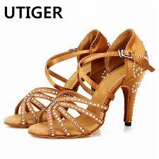 Bronze Red Satin <b>Latin Dance</b> Shoes Women's <b>Rhinestones</b> Salsa ...