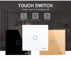 makegood eu standard wireless remote touch glass panel light time delay switch ac 110 240v 1 gang way wall timer