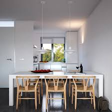 attractive home interior design ideas minimalist kitchen dining table design with rectangular white table combine chic hanging lighting ideas lamp