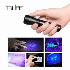 Mini Aluminum UV Ultra Violet 9 <b>LED</b> UV Flashlight Torch <b>Light</b> ...