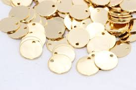 <b>10 Pcs 12mm 24k</b> Shiny Gold Round Charms Round Disc | Etsy