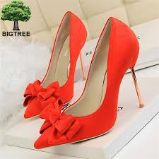 BIGTREE Solid <b>Flock Pointed Toe</b> Woman <b>High</b> Heels Shoes Sweet ...