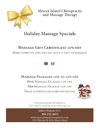 holiday massage specials mercer island chiropractic