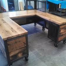 custom reception desk reclaimed wood steel work station u shaped desk carruca desk office