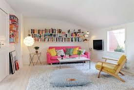 chic small studio apartment design with pink leather chic small white home