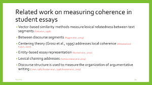 incorporating coherence of topics as a criterion in automatic 33 related work on measuring coherence in student essays vector based similarity methods measure