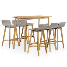 <b>7</b>-<b>Piece Solid Acacia</b> Wood Outdoor Dining Set | Decent Wood