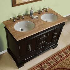 55 inch double sink bathroom vanity:  inch compact double sink travertine stone top bathroom vanity cabinet tr