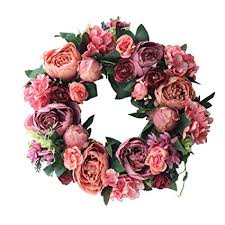 Topdo <b>1PCS Artificial Flower</b> Wreath Peony Wreath 40cm Front ...