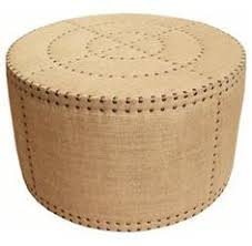 adalene french country burlap rustic round coffee table ottoman bargu mango wood side table