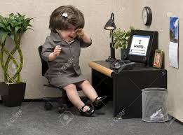 baby dressed in professional office attire crying at her desk stock photo 16948032 band office cubicle