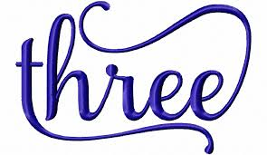 three machine embroidery word design