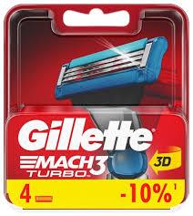 Купить <b>Сменные кассеты Gillette Mach3</b> Turbo, 4 шт. по низкой ...