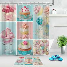 Sweet Candy <b>Donut</b> Rose <b>Polyester</b> Fabric Shower Curtain Set ...