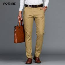 VOMINT Mens Pants Cotton Casual Stretch male trousers man long ...