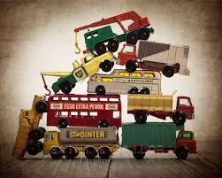 <b>Vintage</b> Stacked Matchbox Work <b>Vehicles</b> Pile on <b>Vintage Brown</b> ...