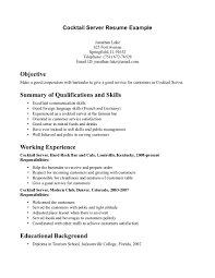 cover letter waiter resume example waiter resume sample no cover letter sample resume for cocktail waitress job position server resumes examples summary of qualificaions and