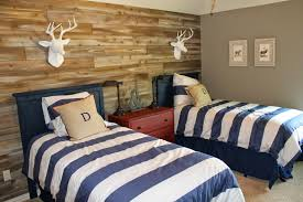 Bedroom For Two Twin Beds Wood Feature Walls Woodland Themed Boys Room Shared Space Two