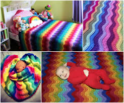 beautifully colorful rainbow ripple blanket  free pattern and guide